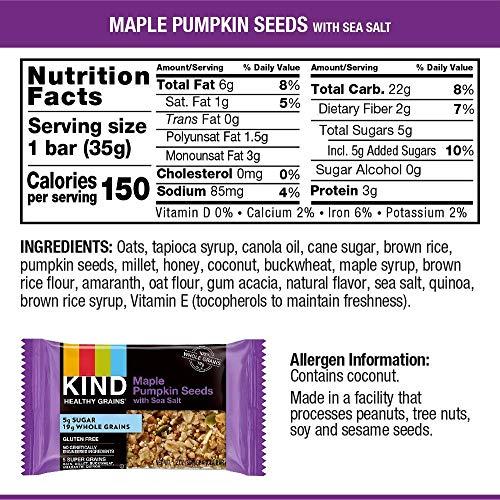 KIND Healthy Grains Bars, Maple Pumpkin Seeds with Sea Salt, Gluten Free, 1.2 oz, 5 Count (8 Pack)