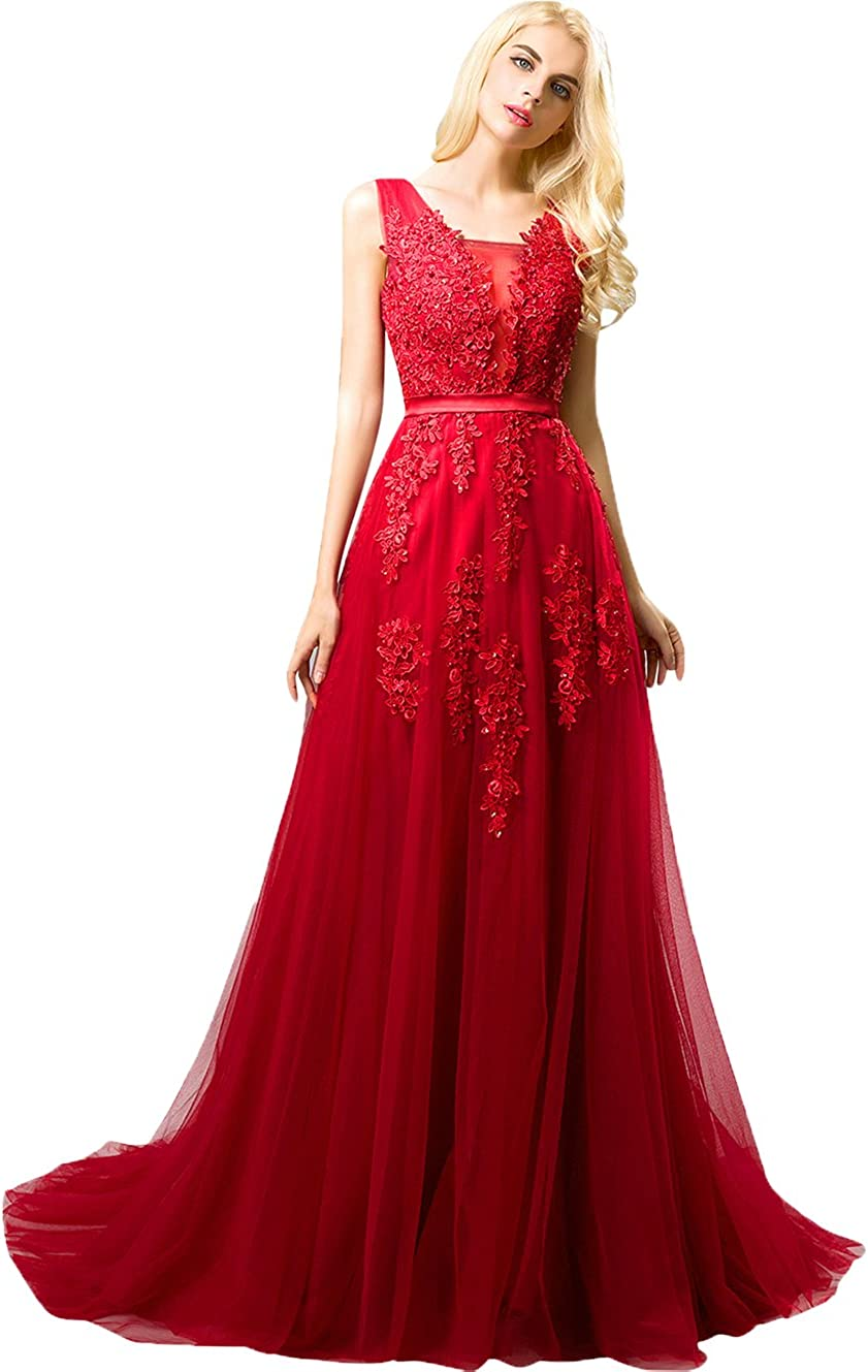 Huifany Womens V Neck Lace A-line Empire Long Formal Evening Dress Prom Gown