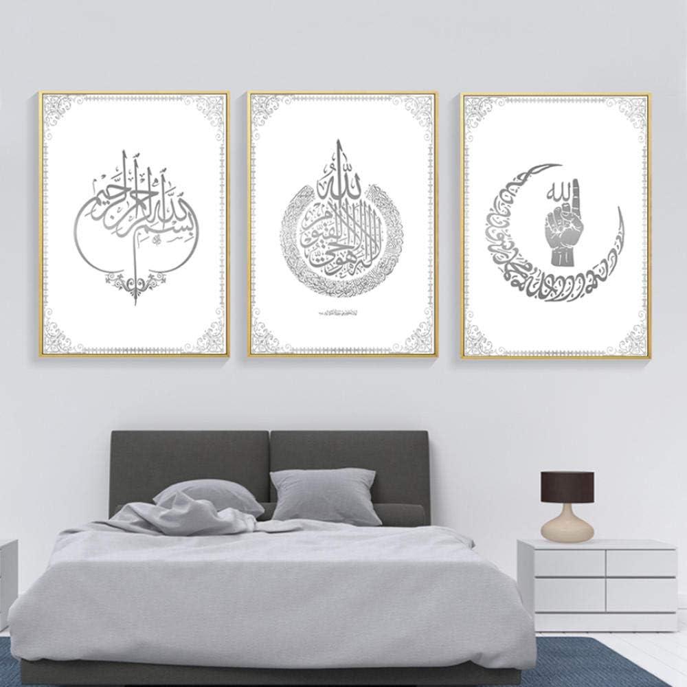 HGNFD Pintura de Lienzo islámica Musulmana Imprime Cuadros de Arte de Pared para Sala de Estar decoración del hogar-50x70cmx3 Piezas sin Marco
