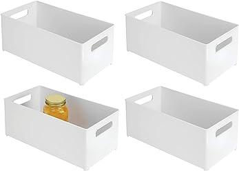 """InterDesign Refrigerator and Freezer Storage Organizer Bins for Kitchen, 8"""" x 6"""" x 14.5"""", Set of 4, White"""