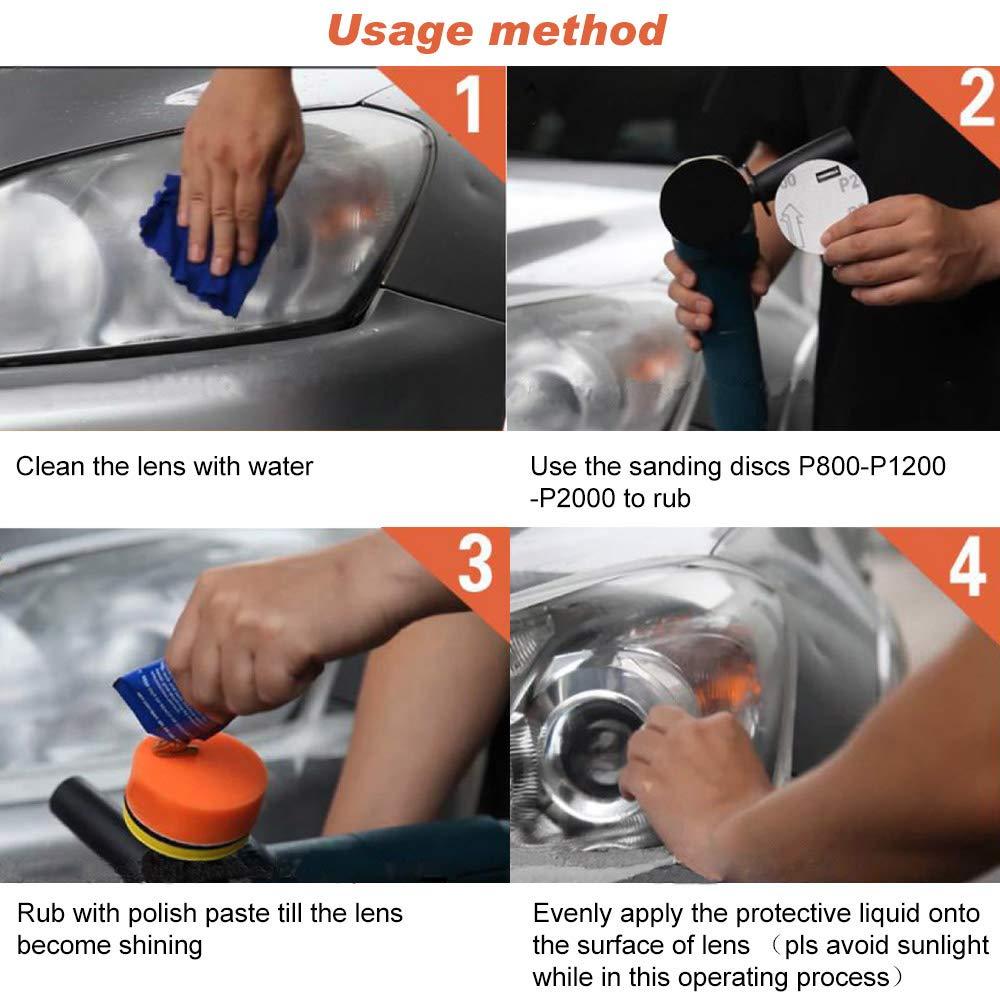 reparaci/ón de faros delanteros con protecci/ón UV Mookis Kit de restauraci/ón de faros delanteros para veh/ículos resistente base de taladro