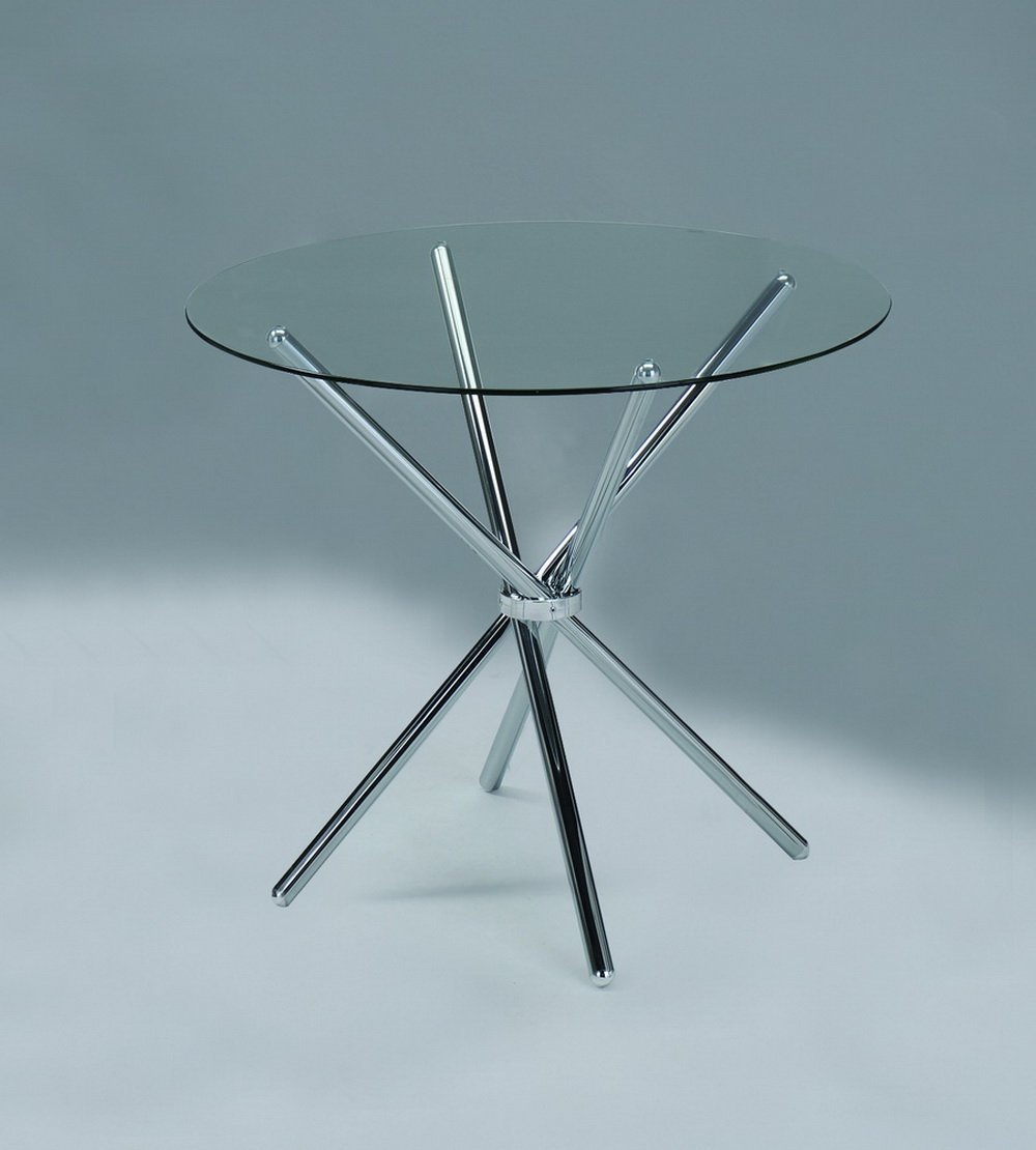 ASPECT VERONA ROUND DINING TABLE-Clear Tempered Glass/Chrome Legs ...