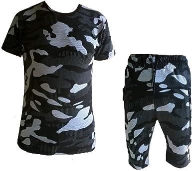 Ensemble Tee Shirt et Short Camouflage Apologize Homme Noir