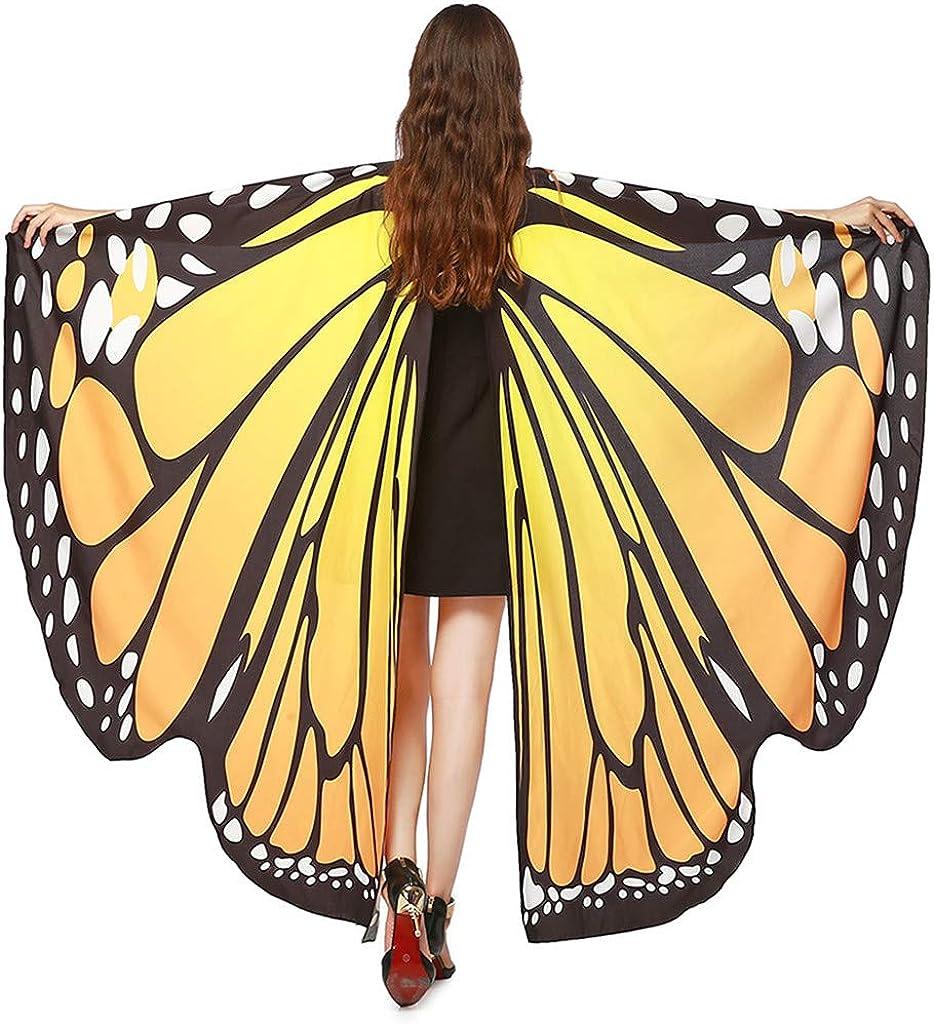 135CM WEXCV Schmetterlingsfl/ügel Damen Bunte Schmetterling Fl/ügel Frauen Fasching Kost/üm Karneval Zubeh/ör Kleidung Accessories Erwachsene mit Schal Umhang Cloak Party Cosplay 168