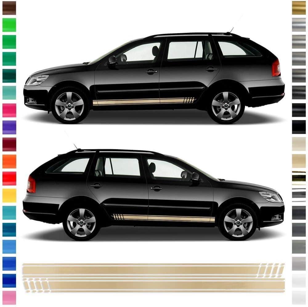 Auto Dress Seiten Streifen Aufkleber Set Dekor Passend Für Skoda Octavia In Wunschfarbe Schwarz Glanz Auto
