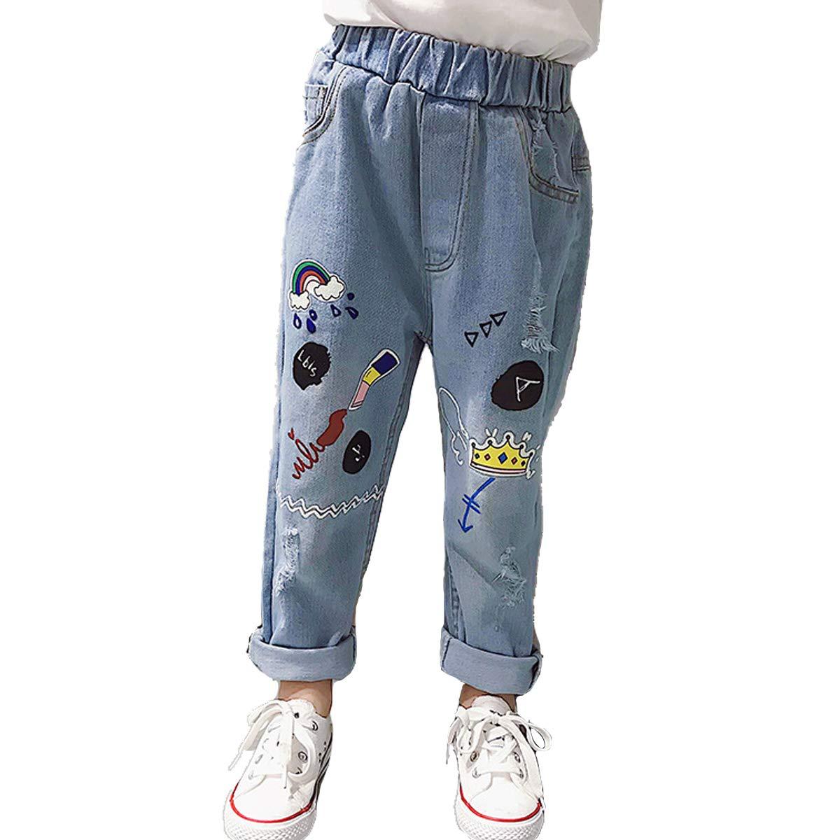 OnlyAngel Girls Denim Pants Cartoon Printed Rolled up Elastic Waist Jeans Age 4-12 (11-12 Years, Blue)