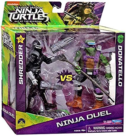 Amazon Com Teenage Mutant Ninja Turtles Out Of The Shadows Ninja Duel Shredder Vs Donatello 5 Action Figure 2 Pack Toys Games