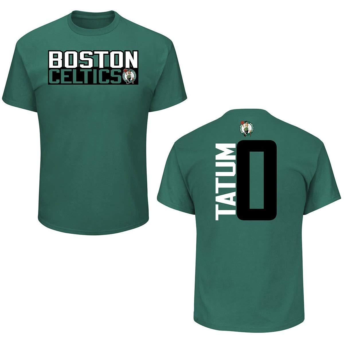 new product 4e7dc a310f Majestic Athletic Boston Celtics Jason Tatum Green Vertical Print Name and  Number T-Shirt