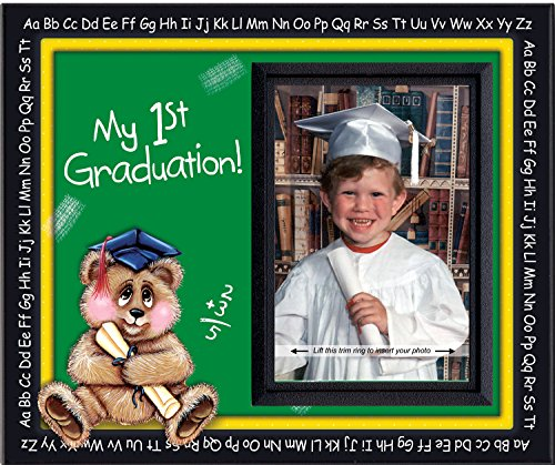 Kindergarten Preschool Graduation Picture Frame | Affordable Colorful and Fun | Holds 3.5 x 5 Photo | Keepsake Gift for Parents | Innovative Front-Loading Photo Design | Bear Theme]()