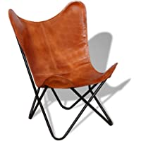 vidaXL Butterfly Chair Real Leather Vintage Brown Sleeper Seat Furniture