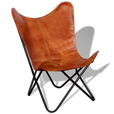 Festnight Vintage Handmade Butterfly Chair Real Leather Brown