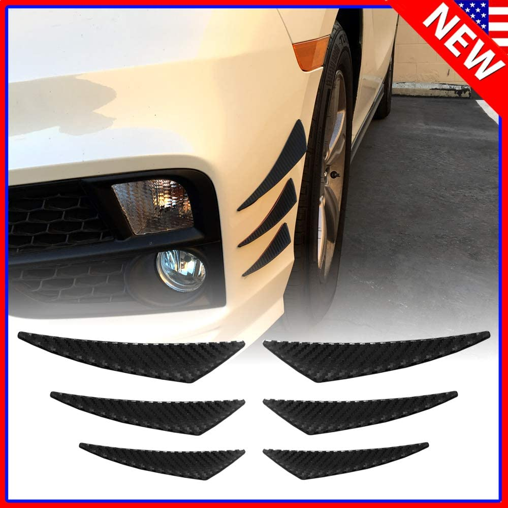 Native Gear Racing Universal 6pcs Front Bumper Lip Splitter Fins Spoiler Canards Black Carbon Fiber Black