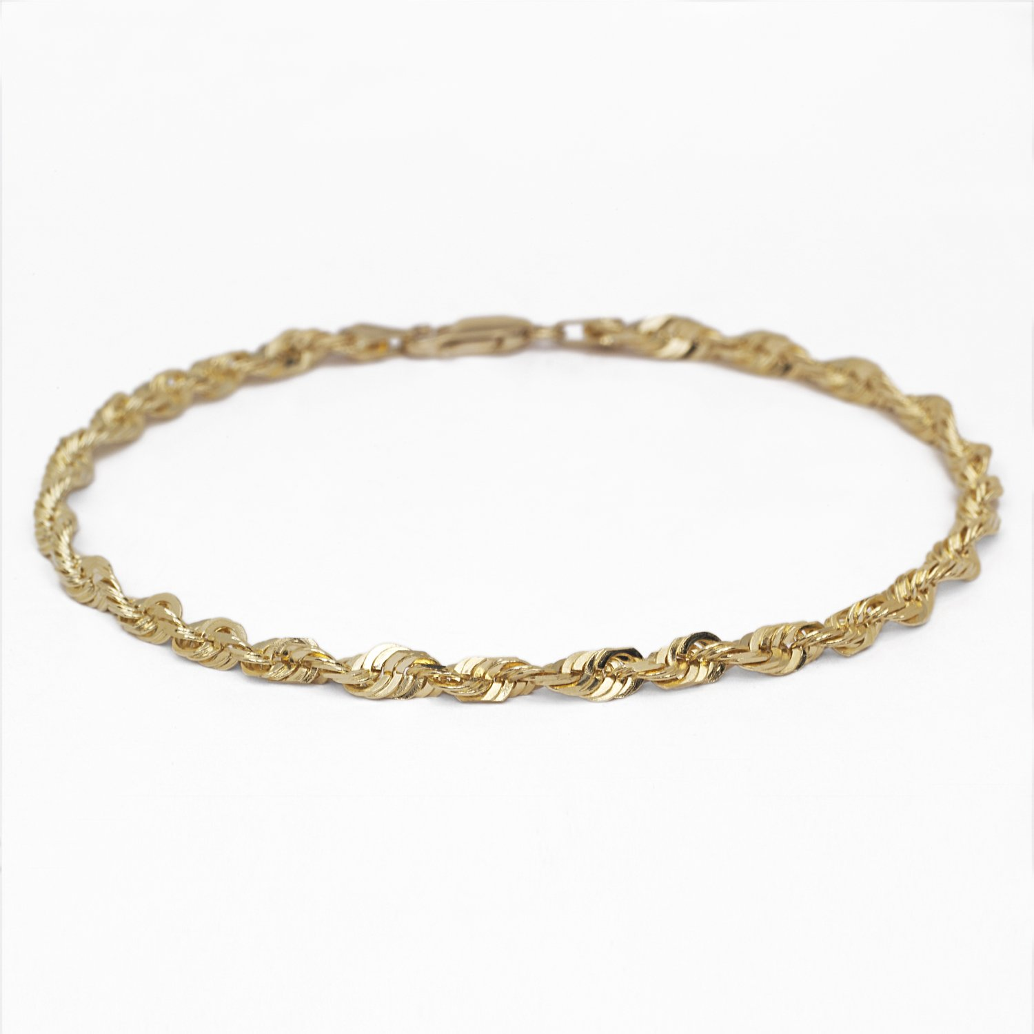 10 Inch 10k Yellow Gold Solid Extra Light Diamond Cut Rope Chain Bracelet and Anklet, 5mm