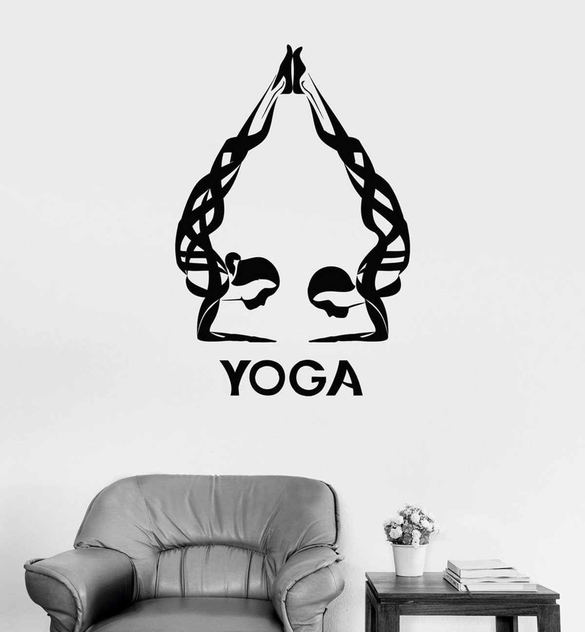 BorisMotley Wall Decal Spa Yoga Meditation Woman Vinyl Removable Mural Art Decoration Stickers for Home Bedroom Nursery Living Room Kitchen