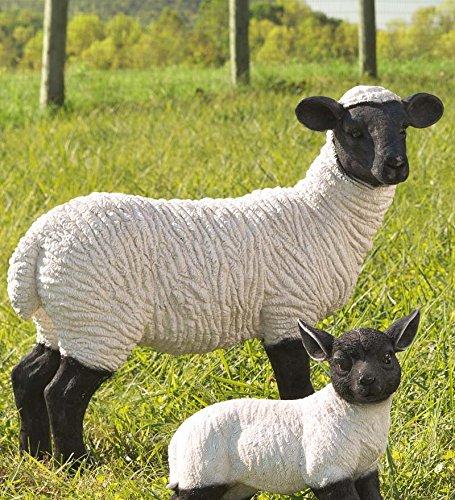 Plow & Hearth 54090 Standing Suffolk Sheep Resin Garden Statue