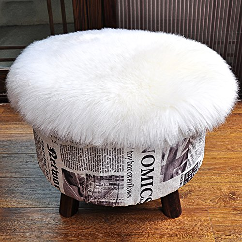Fur Cover - Round Faux Fur Sheepskin Chair Cover Seat Cushion Pad,Super Soft Area Rugs For Living & Bedroom Sofa By SAMMU,(1.3ft x 1.3ft,White)