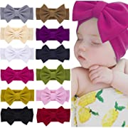 Xinshi Baby Girls Elastic Soft Hair Band Infant Bow Headbands Turban (XS-W2(12PCS))