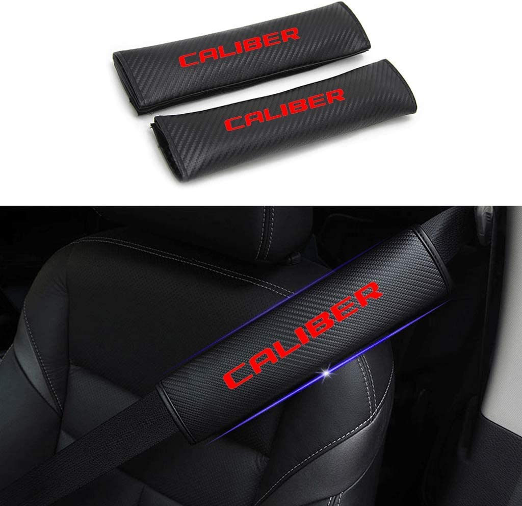 TYMDL 2Pack Car Carbon Fibre Seat Belt Shoulder Cover Pads for Dodge Caliber All Models Auto Sports Racing Style Breathable Cushion Accessories