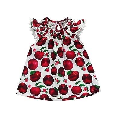 a782a8816bac JYC Girls Dress Pink Dot Flower Embroidered Sun Dress Girls Sleeveless  Cotton Print Apple Print Dress Sleeveless Mini Sundress Outfit:  Amazon.co.uk: ...