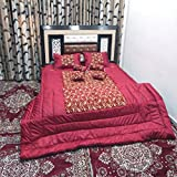Peponi Maroon Satin Wedding Bedding Set 8 Pcs (1 Quilt, 1 Double Bed Sheet, 2 Pillow Covers, 2 Filled Cushions, 2 Filled Bolster)