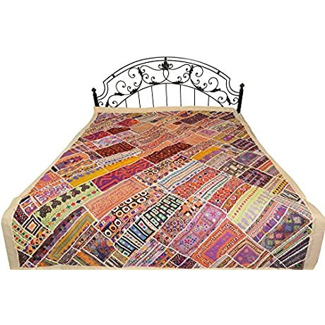 Antiquated Rabari Embroidered Bedcover From Sindh With Patchwork And Mirrors Pure Cotton