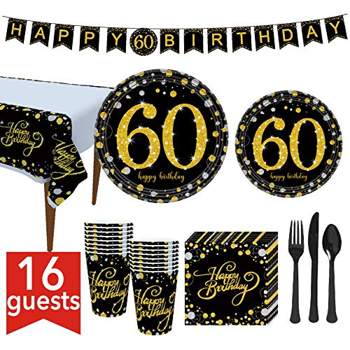 60th Birthday Party Plates (60th Birthday Party Supplies 127 Pcs - Serves 16, Includes Black and Gold Banner, Disposable Tablecloth, Knives, Spoons, Forks, Paper Plates, Napkins,)