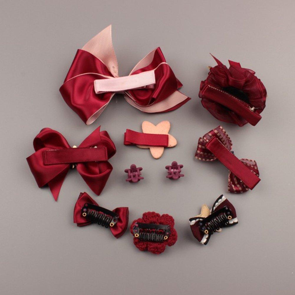 BluelansR 10 Pcs Girl Bow Hairpin Ribbon Flower Multi Style Hair Clip Xmas Birthday