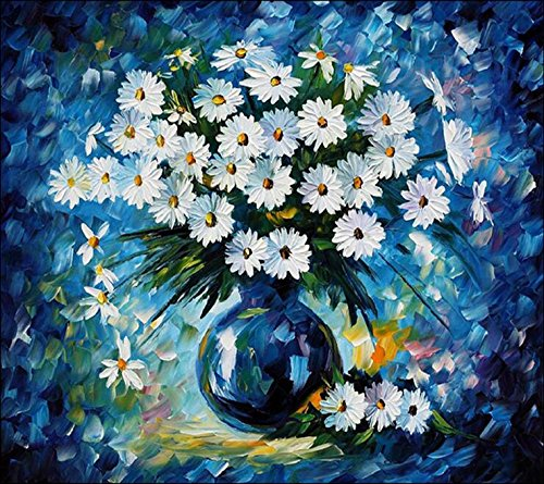 LIVDAT 5D DIY Daisy Flower Crystal Full Diamond Rhinestone Painting By Number Cross Stitch Kit Embroidery Craft Home Decor (14.8'' x 12'', 37cm x 30cm) (Stocking Rhinestone Christmas)