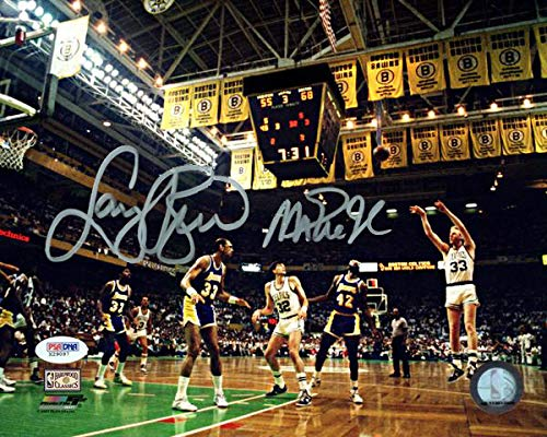 Larry Bird & Magic Johnson Signed 8X10 1987 Finals Photo w/Bird Holo & PSA/DNA