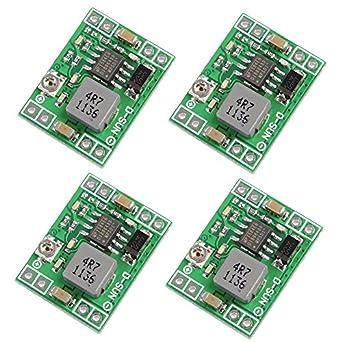 Icstation Mini DC Voltage Regulator Step Down Buck Converter Power Supply Module 4.5V-28V to 0.8V-20V 3A (Pack of 4)