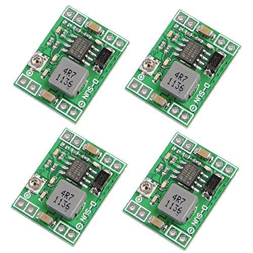 Icstation Mini DC Voltage Regulator Step Down Buck Converter Power Supply Module 4.5V-28V to 0.8V-20V 3A (Pack of 4) (Switching Regulators)