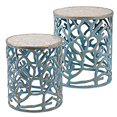 Imax Coral Mother of Pearl End Tables - Set of 2