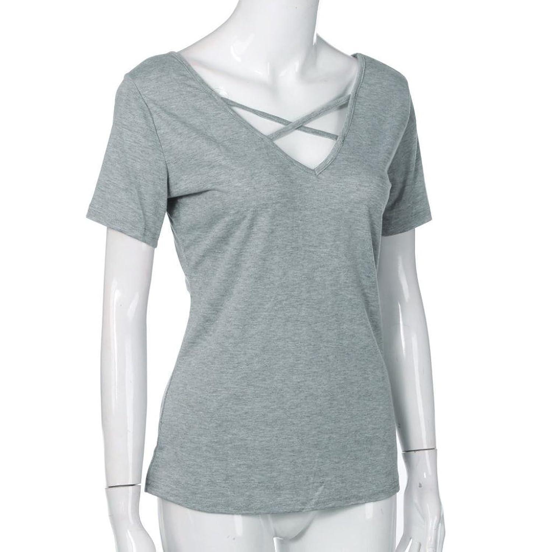 MRULIC Damen Mode Casual Kurzarm Bandage Bluse Tops V-Ausschnitt ...