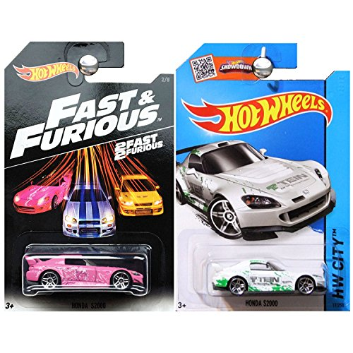 Hot Wheels Fast Furious Honda S2000 in Pink and 2015 Honda S2000 in White Set of 2