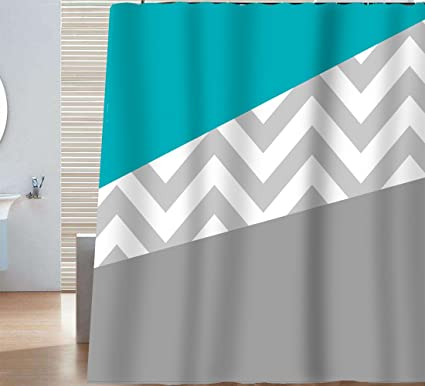 Sunlit Zigzag Modern Color Block Mint Green Blue Teal Turquoise And Grey White Chevron Shower Curtain