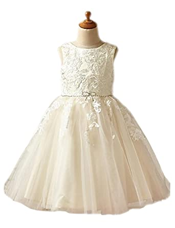 dad624fbe Amazon.com: Sash Crystal First Communion Dresses Toddler Lace Applqiue  Jewel Flower Girl Dresses For Wedding 2018: Clothing