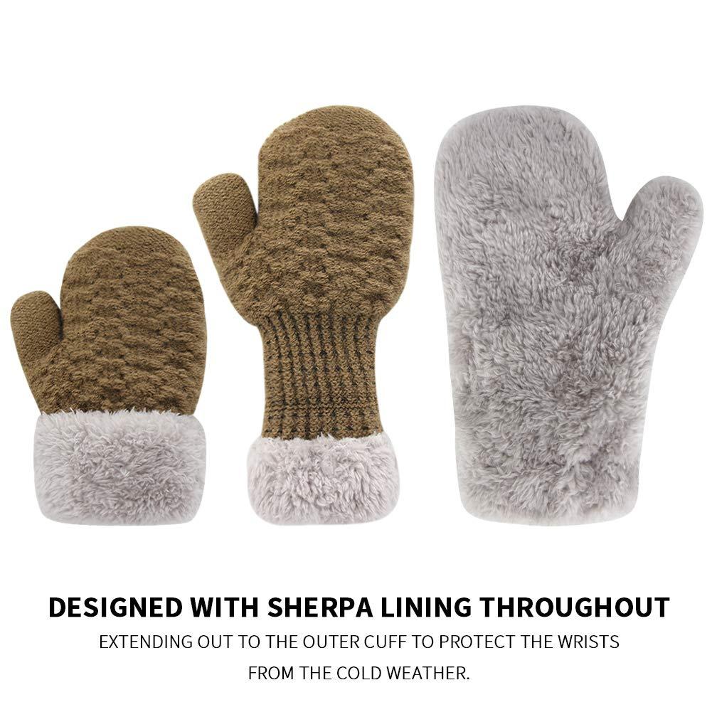 Orvinner 3 Pairs Baby Toddler Winter Mittens Kids Warm Sherpa Lined Mittens Thicken Knit Gloves für Boys Girls