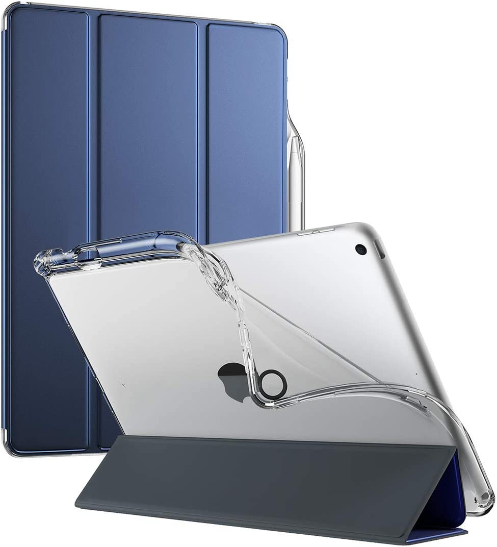 iPad 9.7 Case, Poetic Lumos X Flexible Soft Transparent Ultra-Thin TPU Slim-Fit Trifold Stand Folio Smart Cover [Auto Wake/Sleep][Pencil Holder] for New Apple iPad 9.7 (6th Gen 2018) Navy Blue/Clear