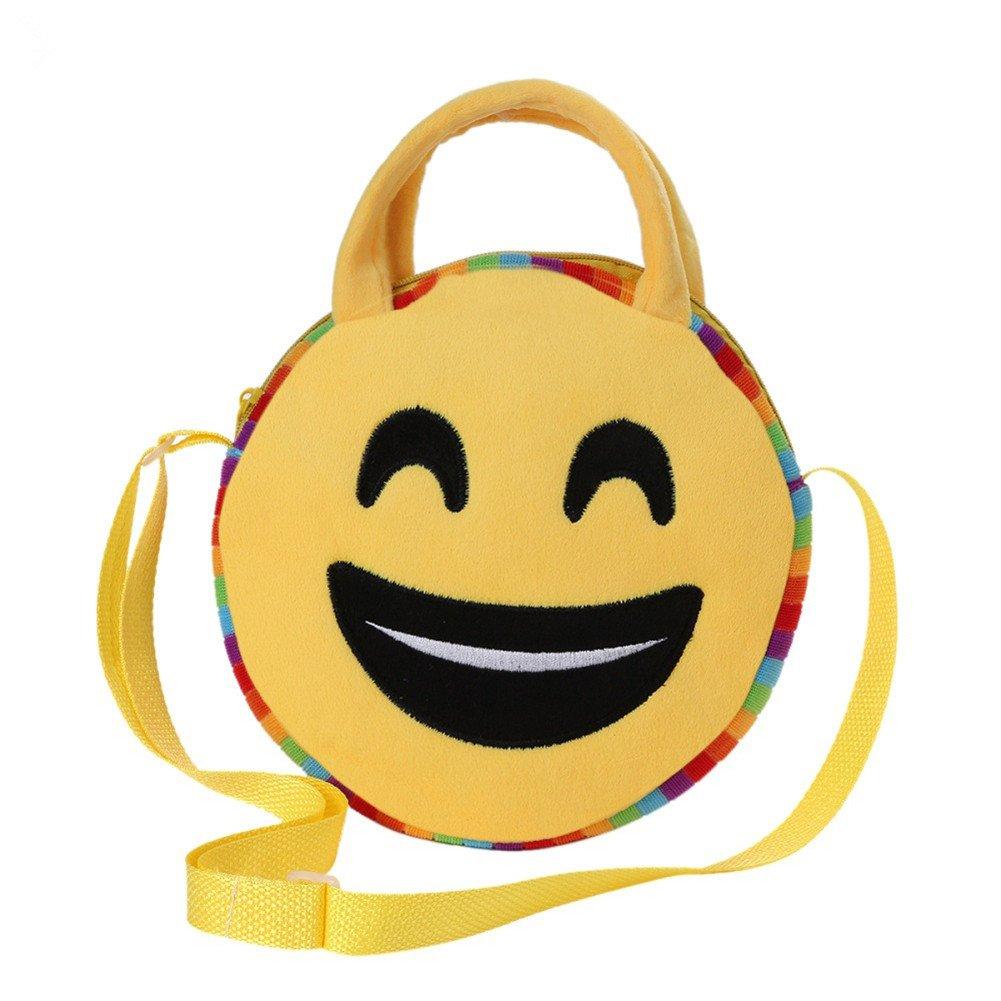 EUNOMIA Lovely Kids Round Emoji Face Emoticon Plush Shoulder Cross Body School Bag Gift