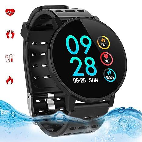 Smartwatch con Pulsómetro,Reloj Inteligente Impermeable IP67 Hombres Mujeres Pulsera Actividad con Cronómetro, Monitor