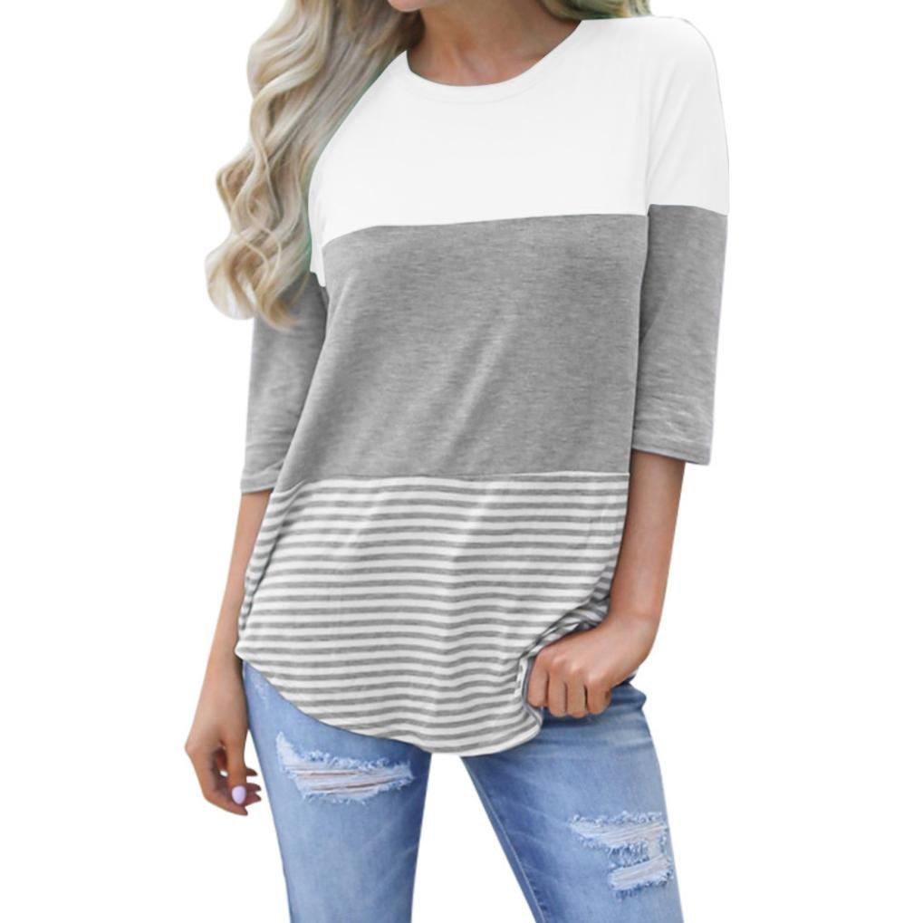 TWIFER Women Ladies Cotton Summer Spring Autumn Short Sleeve Triple Color Block Stripe T-Shirt Casual Blouse