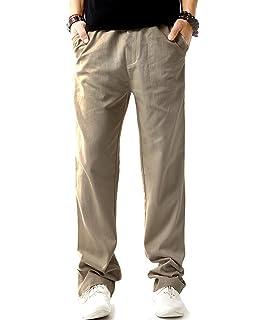 e4dc93c3b0 Allthemen Mens Casual Linen Trouser Comfortable Breathable Trousers Summer Linen  Pants Elastic Waist Drawstring