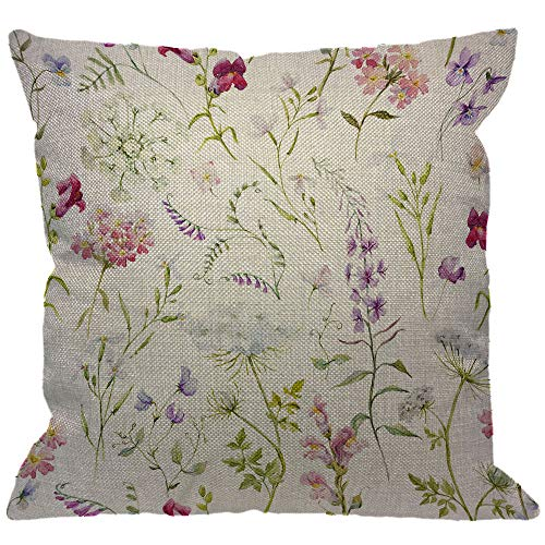HGOD DESIGNS Flower Throw Pillow Cover,Watercolor Floral Delicate Wildflowers Pink Tansy Pansies Delphinium Queen Decorative Pillow Cases Linen Square Cushion Covers for Home Sofa Couch 18x18 inch (Pillow Flower Throw)