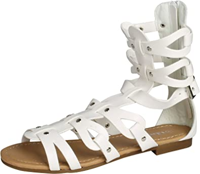09d001fe1f508 Atta 01K Little Girls Strappy Gladiator Comfort Flat Sandals White 11