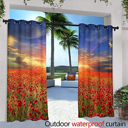 Outdoor- Free Standing Outdoor Privacy Curtain,Stylish ornamental seamless pattern, trendy red blue yellow colored design Can be used for wallpaper, surface textures, textile etc,W84