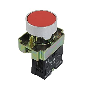 Uxcell a12082000ux0334 22mm NC N/C Red Sign Momentary Push Button Switch 600V 10A ZB2-BA42