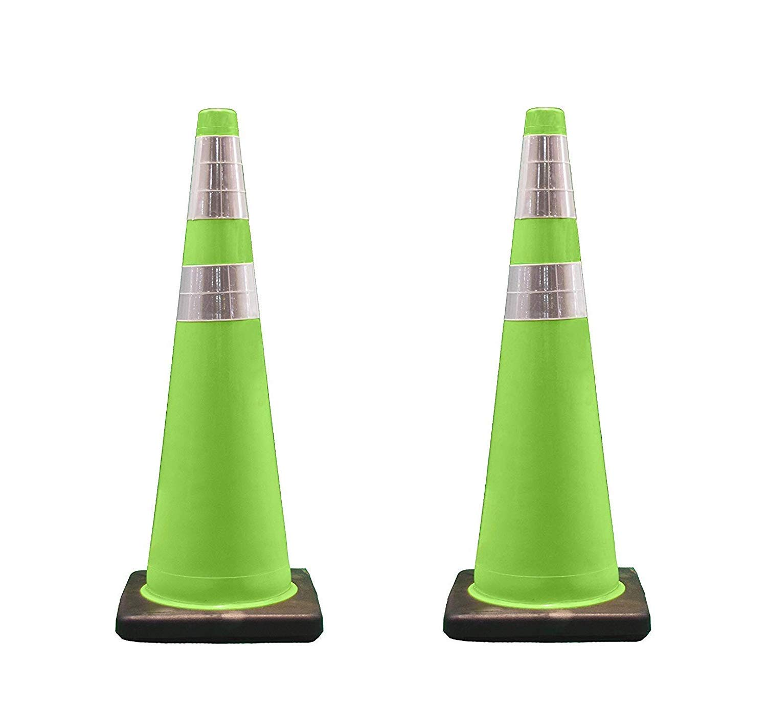 Cortina Traffic Cone, PVC Black Base and 6'' Upper/4'' Lower Reflective Collar 03-500-06LI, 36'' Height, Fluorescent Green (Pack of 2)