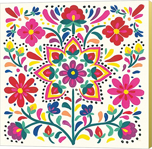 Floral Fiesta White III by Laura Marshall Canvas Art Wall Picture, Museum Wrapped with Strawflower Sides, 12 x 12 inches