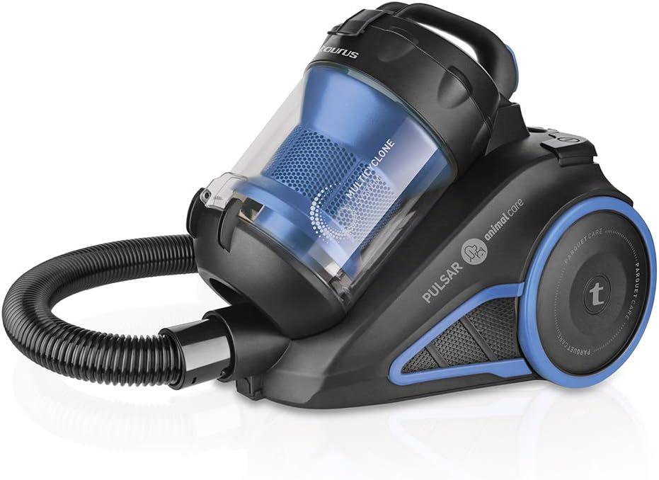 Taurus Pulsar Animal Care – Aspirador de Trineo sin Bolsa con filtraje multiciclónico, 800 W, 2 litros, Plástico, Negro, Azul