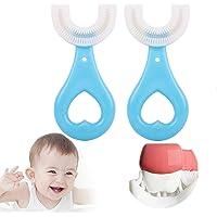 Fkxczn 2 pcsAll afgeronde kinderen U-vorm tandenborstel, 360 ° mondtandenborstel, met siliconen borstel hoofd whitening…